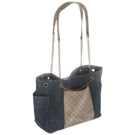 Mona B Milan Upcycled Canvas Shoulder Bag (For Women)