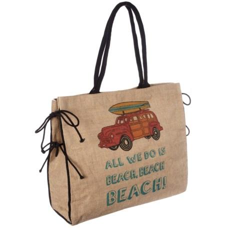 Mona B Burlap Beach Tote Bag (For Women)
