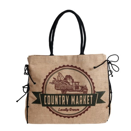 Mona B Country Market Upcycled Burlap Tote Bag (For Women)
