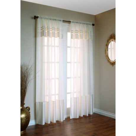 "Home Studio Satin Banded Curtains - Attached Valance, 84"", Pole-Top"