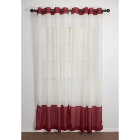 "Home Studio Two-Tone Banded Curtains - 84"", Crushed Voile, Grommet Top"