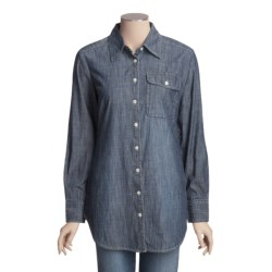 Specially made Crinkle Cotton Chambray Shirt - Long Sleeve (For Women)