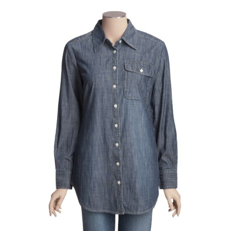 Crinkle Cotton Chambray Shirt - Long Sleeve (For Women)
