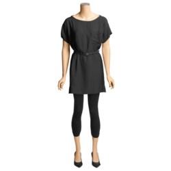 Belted Woven Dress - Short Sleeve (For Women)