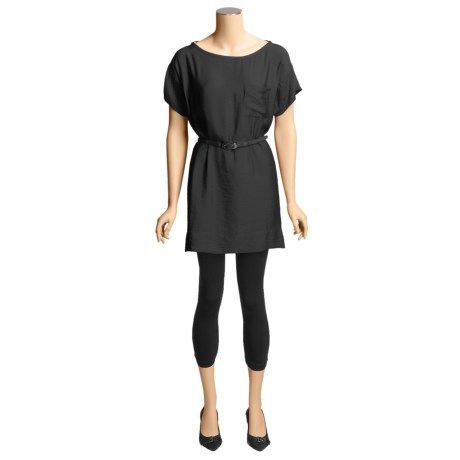 Belted Woven Dress - Short Sleeve (For Women)