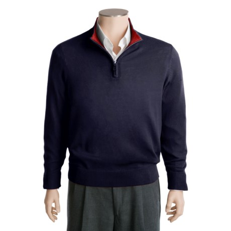 Tailorbyrd Solid Sweater - Washable Wool, Zip Neck (For Men)