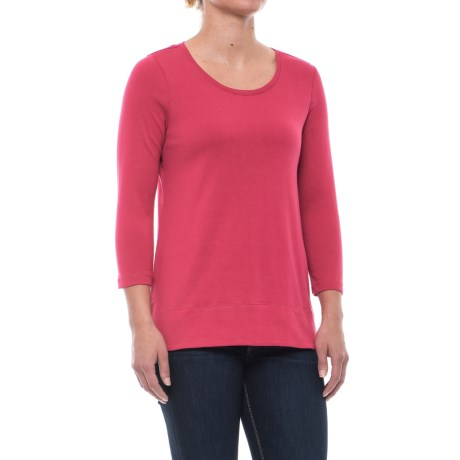Specially made Solid Knit Tunic Shirt - Pima Cotton, 3/4 Sleeve (For Women)
