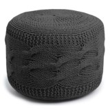 "Shyam Exports Cable-Knit Pouf Ottoman -16x22"""