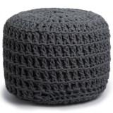 "Shyam Exports Natural Crochet Knot Pouf Ottoman - 16x22"""