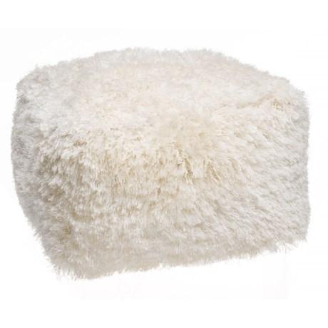 "Deco Floor Square Ivory Core Shag Pouf Ottoman - 24x24x14"""