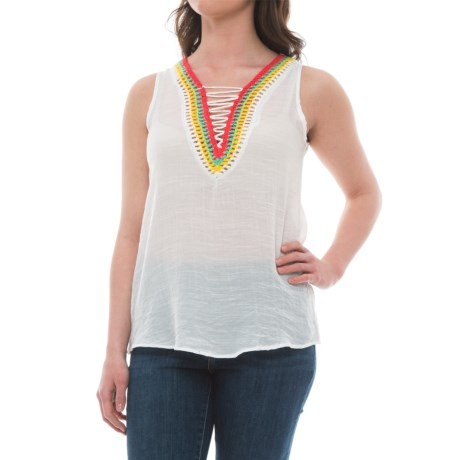 Studio West Embroidered V-Neck Blouse - Sleeveless (For Women)