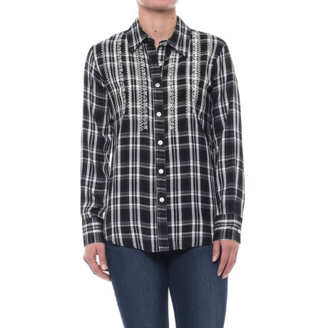 Studio West Embroidered Plaid Shirt - Long Sleeve (For Women)