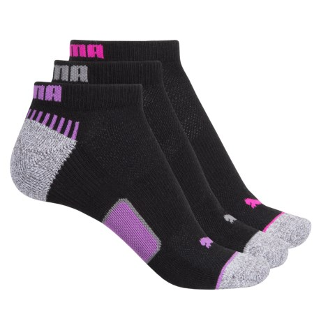 Puma Heel-Toe Cushioned Terry Socks - 3-Pack, Below the Ankle (For Women)