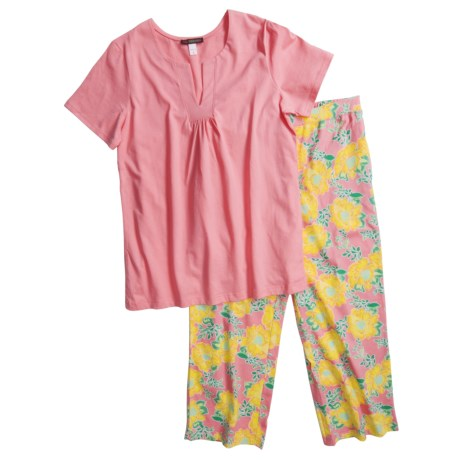 Stan Herman Jersey Knit Pajamas - Printed Pants, Short Sleeve (For Women)