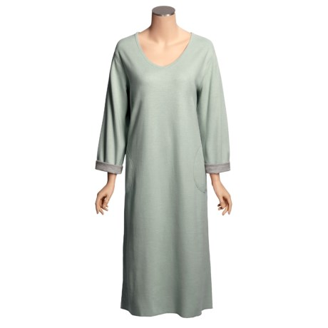 Stan Herman Lounge Dress - Brushed Jersey Cotton, Long Sleeve (For Women)