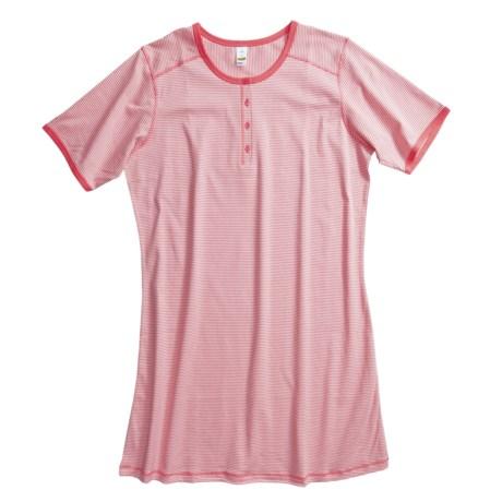 Calida Portland Big Shirt - Interlock Cotton, Short Sleeve (For Women)