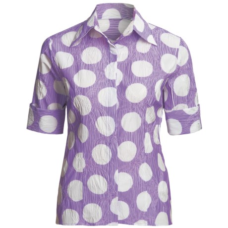 Farinaz Italian Cotton Shirt - Fitted, Short Sleeve (For Women)