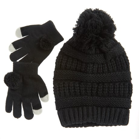 Pink Platinum Beanie and Gloves Set - Touchscreen Compatible (For Big Girls)