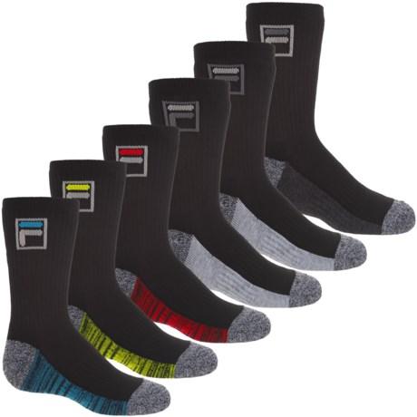 Fila AbsorbDry Socks - 6-Pack, Crew (For Boys)