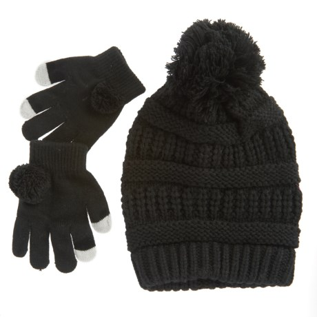 Pink Platinum Knit Hat and Gloves - Touchscreen Compatible (For Little Girls)