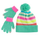 Pink Platinum Stripe Hat and Gloves - Touchscreen Compatible (For Little Girls)