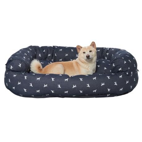 """Humane Society Polka-Dog Denim Round Bolster Couch Dog Bed - 48x36"""""""