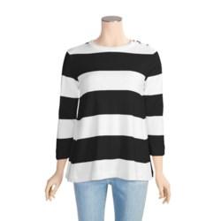 Joan Vass Wide Stripe Shirt - Cotton, 3/4 Sleeve (For Women)