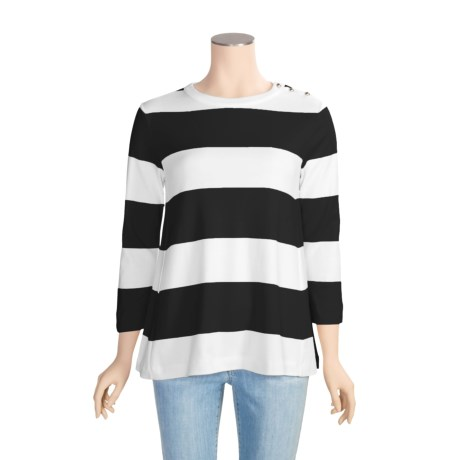 Joan Vass Wide Stripe Shirt - Cotton, 3/4 Sleeve (For Women)