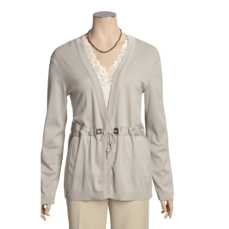 Joan Vass Drawstring Cardigan Sweater - Faux-Suede Elbow Patches (For Women)