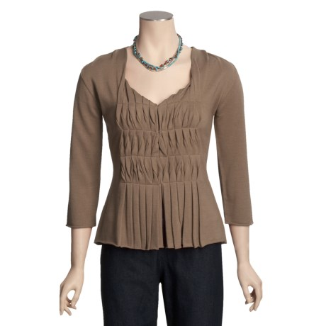Two Star Dog Zoey Cardigan Sweater - Pleated Front, 3/4 Sleeve (For Women)