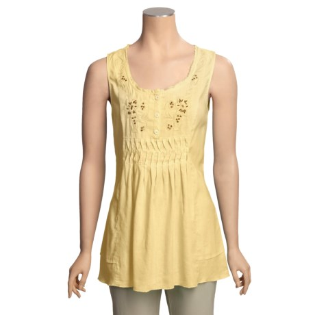 Two Star Dog Embellished Shirt - Hemp-TENCEL®, Sleeveless (For Women)