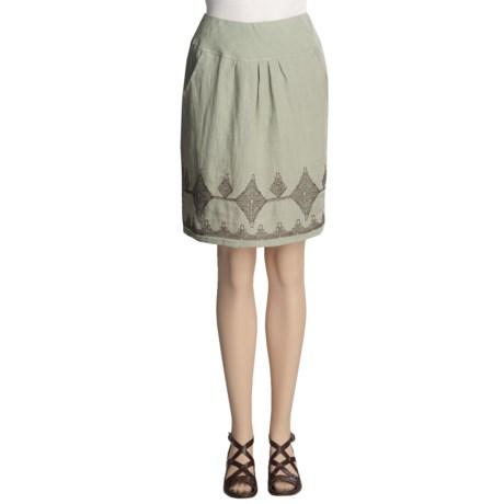 Two Star Dog Crinkle Linen Skirt - Embroidered (For Women)