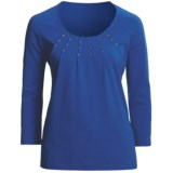 Madison Hill Pleated Studded Shirt - Cotton, 3/4 Sleeve (For Women)