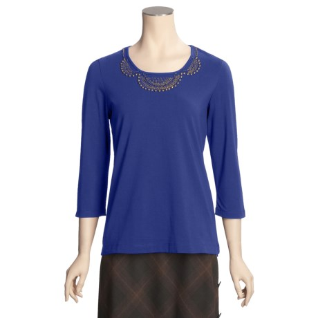 Madison Hill Cotton Beaded T-Shirt - 3/4 Sleeve (For Women)