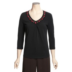 Madison Hill Cotton Stretch Beaded T-Shirt - 3/4 Sleeve (For Women)