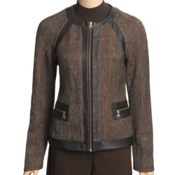 Madison Hill Tweed Jacket - Faux-Leather Trim, Zip Front (For Women)