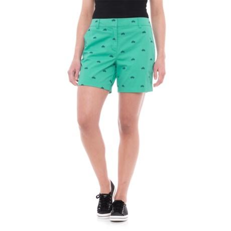 "British Khaki Embroidered Shorts - 6"" (For Women)"
