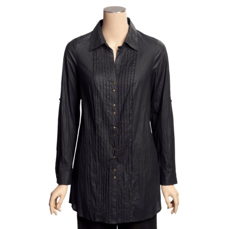 Renuar Crinkled Cotton Shirt - Tunic-Length, Long Sleeve (For Women)