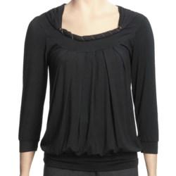 Renuar Gathered Neck Shirt - 3/4 Sleeve (For Women)