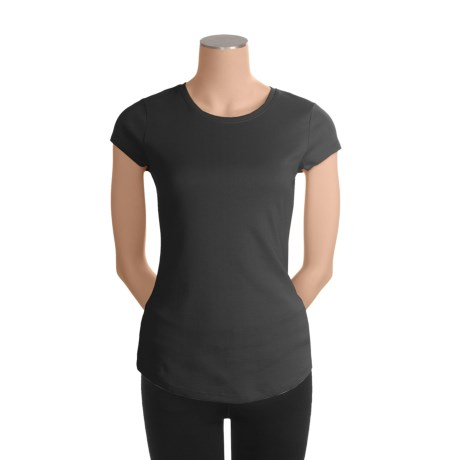 Cotton Crew Neck T-Shirt - Short Sleeve (For Women)
