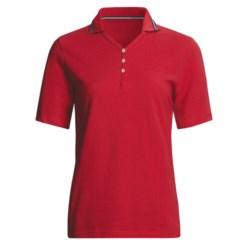 Outer Banks Nautical Stripe Polo Shirt - Cotton Pique, Short Sleeve (For Women)