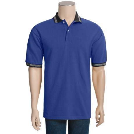 Outer Banks Jacquard Trim Polo Shirt - Cotton Pique, Short Sleeve (For Men)