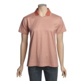 Outer Banks Micro Stripe Jersey Polo Shirt - Double Mercerized Cotton, Short Sleeve (For Women)