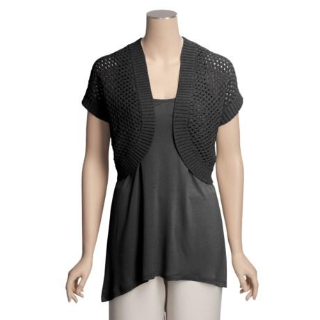 August Silk Knit Cropped Cardigan Sweater - Tape Yarn, Short Sleeve (For Women)