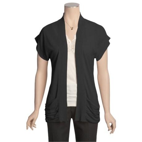 August Silk Drape Cardigan Sweater - Linen-Rich (For Women)