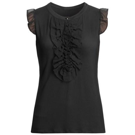 August Silk Jersey Knit Shirt - Georgette Trim, Sleeveless (For Women)