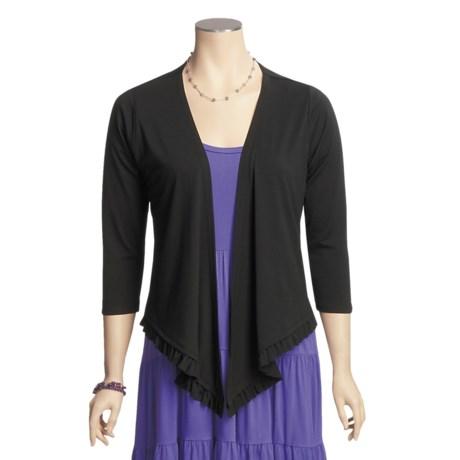 August Silk Demi Draped Cardigan Sweater - 3/4 Sleeve (For Women)