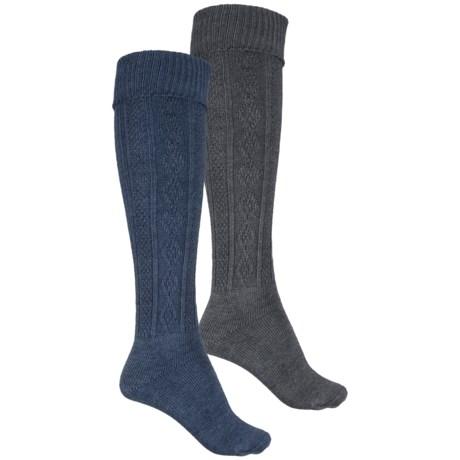 Wrangler Cable-Knit Knee Socks - 2-Pack, Over the Calf (For Women)