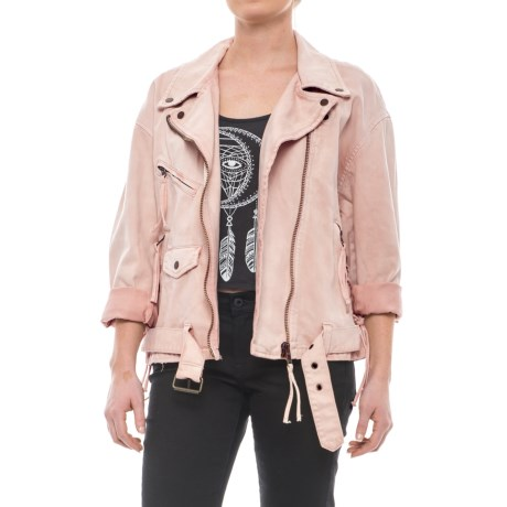 Free People Oversized Denim Moto Jacket (For Women)
