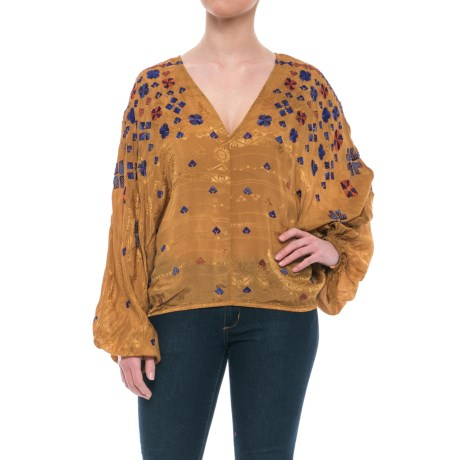 Free People Music in Time Embroidered Chiffon Shirt - Long Sleeve (For Women)